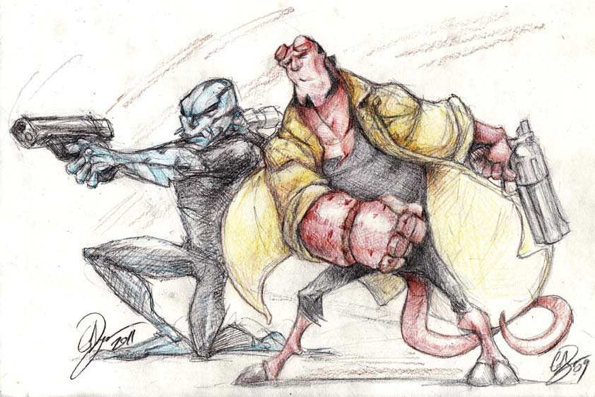 Abe Sapien and Hell Boy Caricature 2011